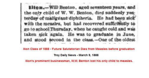 IHS Class of 1888 - Will Benton dies from measles
