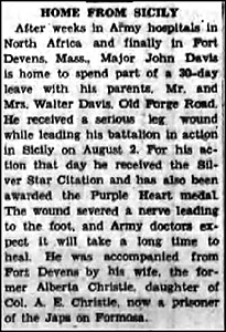 Major John Davis Wounded in Battle